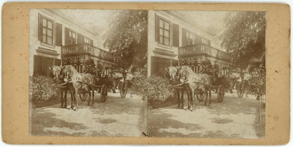 Rijtuig voor huize Lommeroord te Baarn, stereofoto, 26 augustus 1894