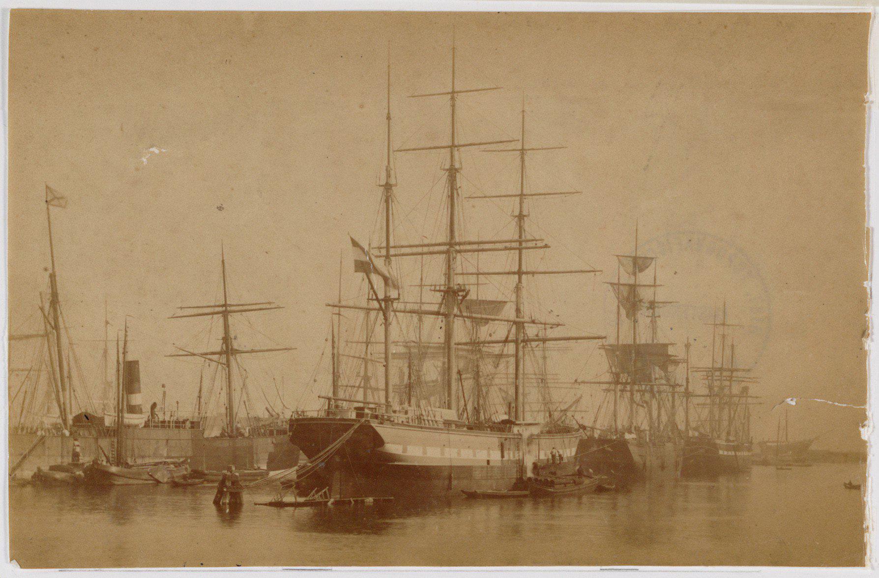 Composietbark Merapi in het Oosterdok, 1870