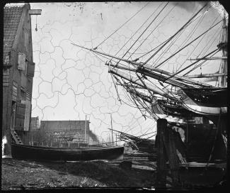 Werf Sint Jago met op achtergrond werf De Nachtegaal, 1862